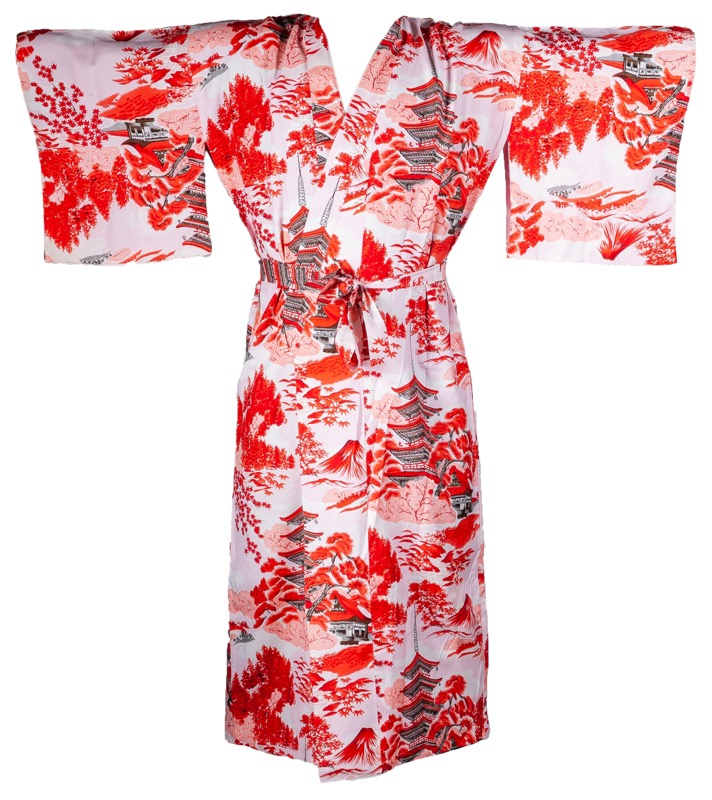 A cotton kimono, decorated with a patern of red traditional pagodas