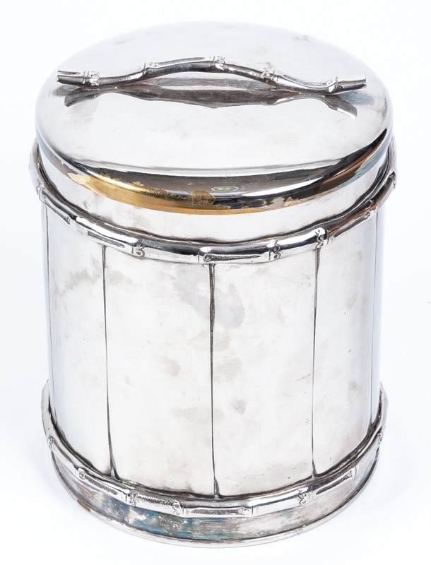 A simulated-bamboo silver plated cooler, 1980s