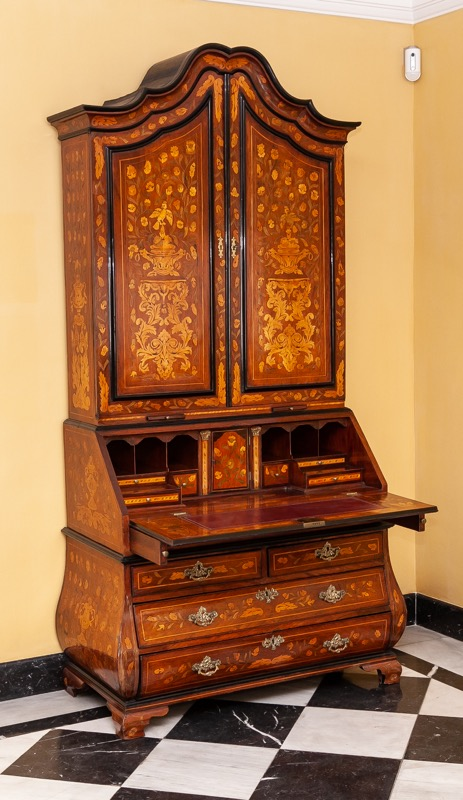 A Dutch marquetry cabinet-on-chest, 18th Century
