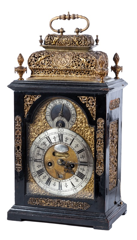 Dan Quare (1649 - 1724). A Queen Anne ormolu-mounted ebonized eight-day striking table clock, circa 1700