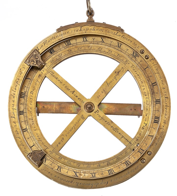 An 18th Century French bronze mariner's astrolabe